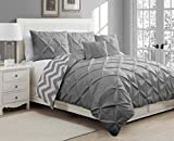 Geneva Home Fashion 5-Piece Ella Pinch Pleat Duvet Set, King, Grey