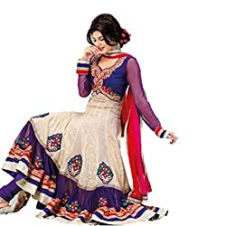 Parabdhani Fashion Women's Georgette Semi Stitched Suit (PBF_DM_91_White_Free Size)