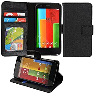 Abacus24-7 [Pocket Book Series] Motorola Moto G (4G LTE) Wallet Case with Flip Cover & Stand - Black