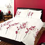 Oriental Bedding Set - contemporary asian floral design - White - Double