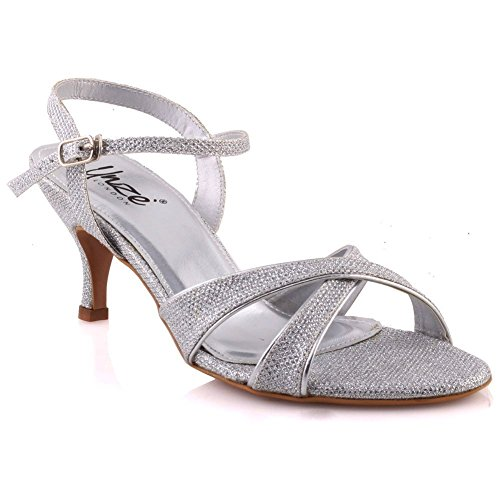 Unze Womens 'Shien' Kitten Heeled Party Fashion Sandals - W01359