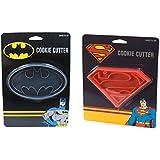 DC Comics Batman + Superman Cookie Cutters Bundle Set, Cookie Stamp