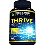 Thrive - Natural Clean Energy- High Caffeine Pills with Taurine- B Vitamins and More. Supports Endurance- Energy- and Focus, Made for Men and Women. Non-GMO Natural Energy Supplement 60 Capsules