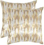 Safavieh Pillow Collection Throw Pillows, 20 by 20-Inch, Boho Chic Metallic Silver, Set of 2