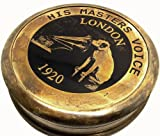 Large 3-Inch HMV London Gramophone Phonograph Collectible Antiquated Brass Compass with Original Horse Leather Case