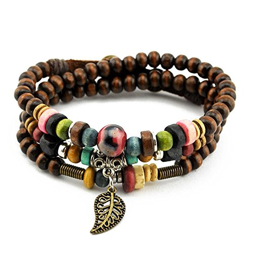 Handmade Multilayer Wood Beads Cuff Wrap Bracelet with Leaf Charms, Button Clasp (Biker Lil Friend compare prices)