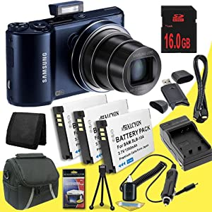 Samsung WB250F Smart Digital Camera (Cobalt Black) + Three SLB-10A Replacement Lithium Ion Batteries + External Rapid Charger + 16GB SDHC Class 10 Memory Card + Carrying Case + SDHC Card USB Reader + Memory Card Wallet + Deluxe Starter Kit DavisMax Bundle