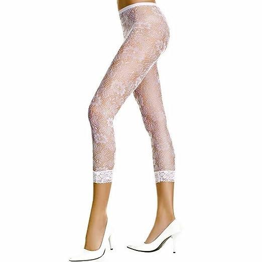 White Floral Lace Capri Length Spandex Leggings