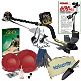 "Fisher Gold Bug Pro Metal Detector W/5"" Waterproof Search Coil, Gold Pan Kit, Headphones, Finds Apron, Treasure Gloves, Digger, Book"