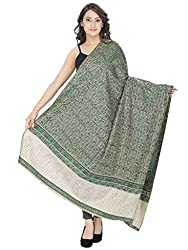 Indo Essence (Women's_ Designer Striped Green Shawl)