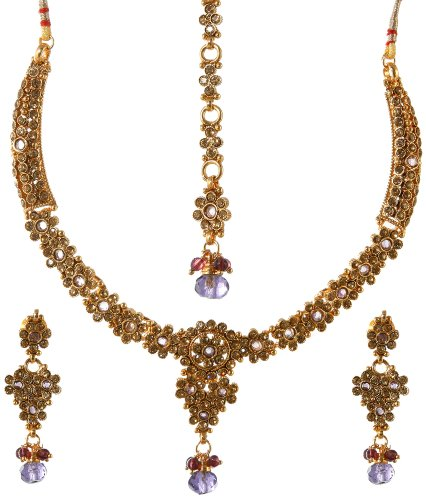 Tri-Color Necklace and Earrings Set - Copper Alloy with Cut Glass