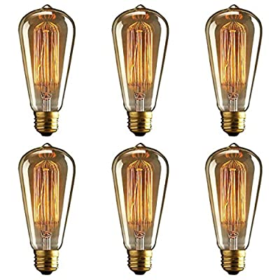 Vintage Edison Bulb (Pack of 6) - Squirrel Cage Filament Lamp - Dimmable, E26 260 Lumens, ST64 - Teardrop Top, Antique Incandescent Clear Glass Light, For Chandeliers Wall Sconces Pendant Lighting