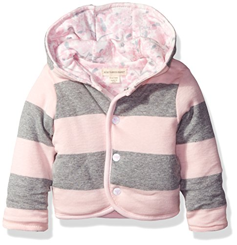 Burt's Bees Baby Girls' Organic Reversible Snap Front Jacket, Blossom, 12 Months