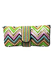PARTY PURSE HANDBAG ETHNIC INDIAN CLUTCH BEAD SEQUIN EVENING CASUAL MULTI COLOR FLORAL DESIGN STYLE