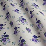 Light Ivory Polka Dot Polycotton Fabric with Purple Roses (Per Metre)
