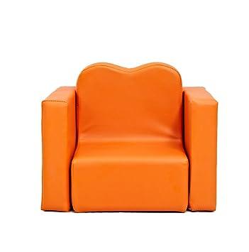 Kinder Sofa Baby kleine Sofa niedlichen einzigen massiven Holz Stuhl Stuhl Vielzahl von kleinen Sofa abnehmbar waschbar ( Farbe : Orange )