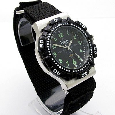 Mens Black Terrain Boardrider Sports Surf Watch-Velcro Strap+Rotating Bezel-50m Water Resitant-970g