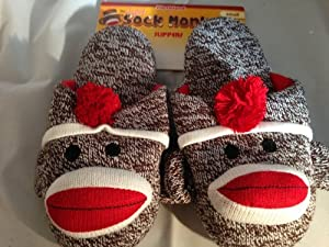 Sock Monkey Slippers Slip-On Small