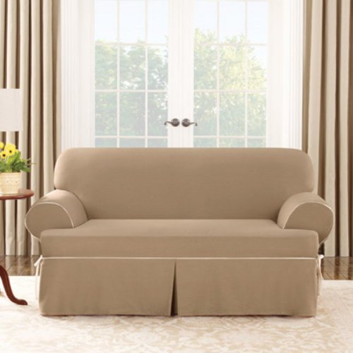 Sure Fit Sure Fit Cotton Duck T-Cushion Sofa Cover, Cocoa/Natural, Sofa