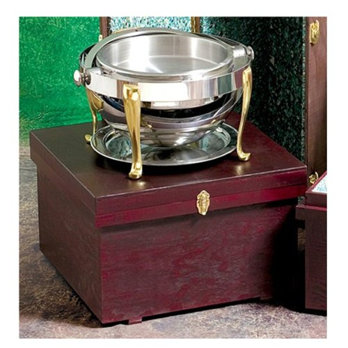 "Bon Chef 812000W Wooden Box for Round Chafers, 25"" Width x 15"" Height x 25"" Depth, Dark Mahogany"