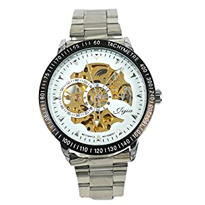 Gift In Box Sliver Skeleton Dial Stainless Steel Strap Automatical Mechanical Men's Watch G8119-2