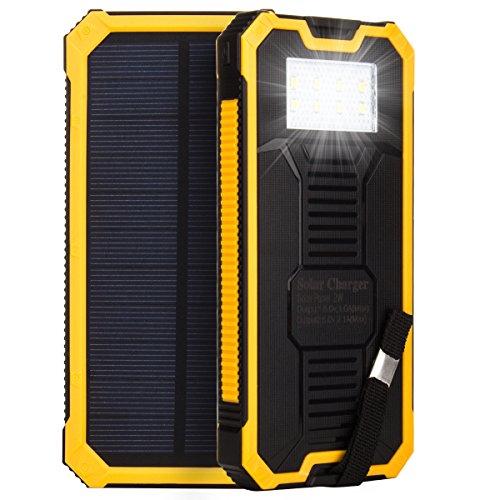 HanLuckyStars 15000mAh Cargador Solar Batería Externa PowerBank Con Linterna LED Brillate,2 Puerto USB, Mosquetón Gancho ,Cable USB,para smartphone android window tablet ipad