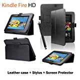 "Mixland All-New Luxury Leather Case Cover with Stand Standing Leather Cover for Amazon Kindle Fire HD 7"" Tab,Black"