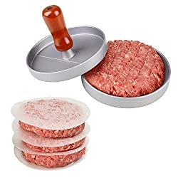 Kicode Aluminum Burger Press Hamburger Maker Non Stick Patty Mold Ideal for BBQ(Gray)
