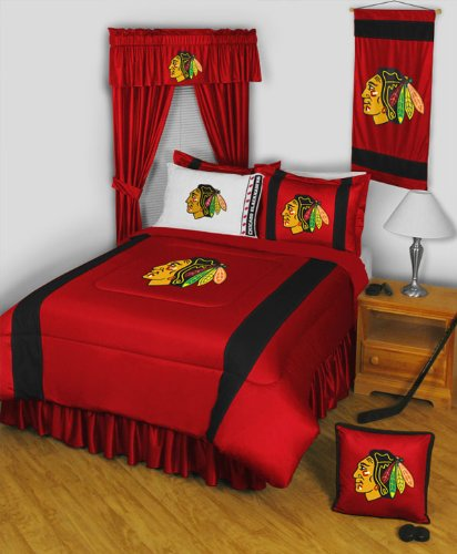 Nhl Chicago Blackhawks Queen Bedding Set - 14Pc Hockey Comforter Sheets Queen Bed
