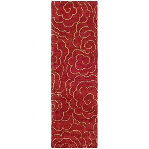 Safavieh Soho Collection SOH812A Handmade Red Wool Runner, 2 feet 6 inches by 12 feet (2'6