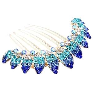 niceeshop(TM) Beautiful Fashion Jewelry Blue Flowers Crystal Hair Clips