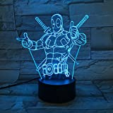 LE3D 3D Optical Illusion Desk Lamp/3D Optical Illusion Night Light, 7 Color LED 3D Lamp, Marvel Comics 3D LED For Kids and Adults, Dead Pool Light Up