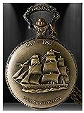 #6: LMP3Creation Classic Vintage Retro Bronze Antique Finish Royal Ship Pocket Watch With Chain (POW-00181)