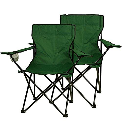 Nexos, Set di 2 sedie pieghevoli da campeggio, con porta-bicchiere intregrato nel bracciolo, colore: Verde scuro