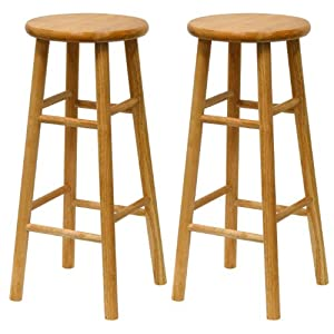 Winsome Wood S 2 Wood 30-Inch Bar Stools, Natural Finish by Winsome