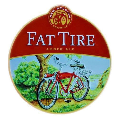 New Belgium Fat Tire Stamped Steel Oversized Sign (Fat Tire Beer Sign compare prices)