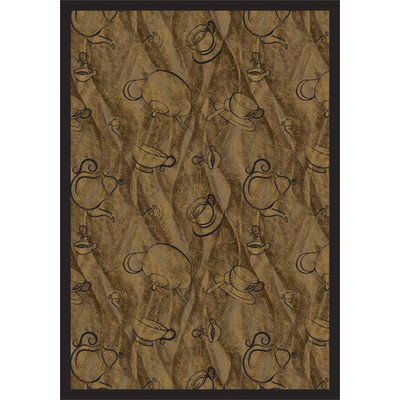 Joy Carpets Kaleidoscope Fresh Brew Whimsical Area Rugs, 46-Inch by 64-Inch by 0.36-Inch, Mocha
