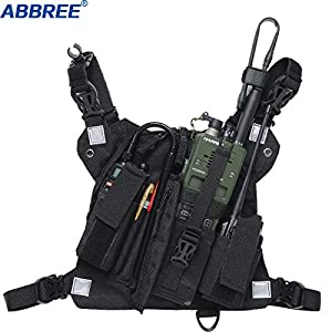 ABBREE Chest Harness Front Pack Pouch Holster Vest Rig for Baofeng UV-5R BF-F8HP UV-82 TYT Ham Two Way Radio (Rescue Essentials) (Reflective Black) (Color: PT-09)