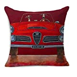 Alfa Romeo with Dog Driver Pillow Cushion Cover