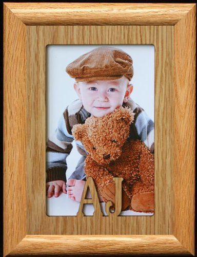 5x7 AJ ~ Portrait Laser Cut Oak PHOTO NAME FRAME ~ Holds a 4x6 or 5x7 Picture! (Aj Laser compare prices)