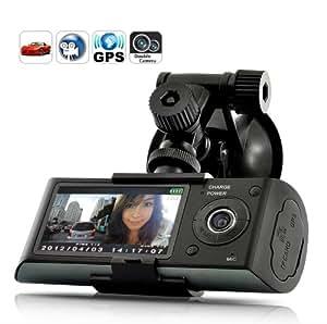 LUJII 2.7-Inch TFT Dual Camera Car DVR GPS Logger G-Sensor Vehicle Synchronous Recorder-New Version