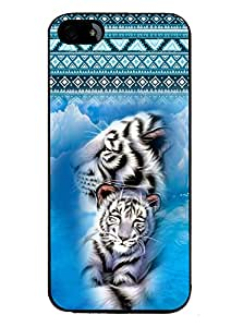 PRINTVISA Pattern with White Tiger Premium Metallic Insert Back Case Cover for Apple Iphone 4 / 4G / 4S - D5749