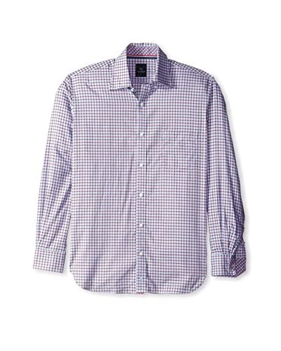 TailorByrd Men's Check Button Down Sport Shirt with Contrast Cuff