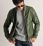 PUレザー MA-1 ジャケット レザージャケット フェイクレザー ブルゾン ミリタリー メンズ カジュアル ストリート カーキ Lサイズ