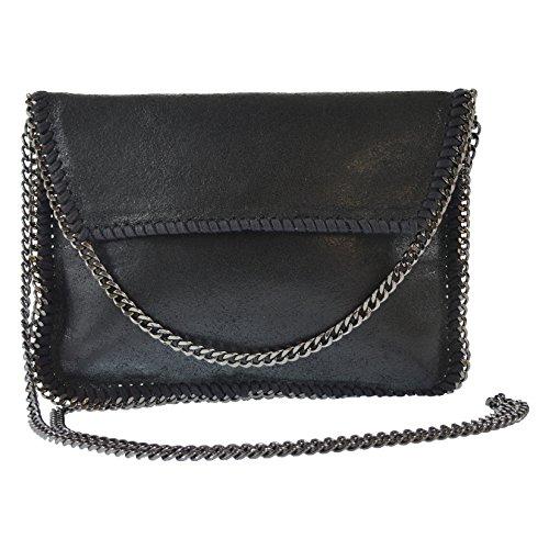 CTM Pochette elegante da donna, borsetta a tracolla in vera pelle made in Italy 24x18x1 Cm