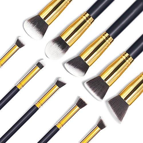 Details for EmaxDesign Makeup Brush Set Professional Premium Synthetic Kabuki Foundation Blending Blush Eyebrow Face Liquid Powder Cream Cosmetics Brushes Kit With Bag (10 Piece Golden Black) by EmaxDesign