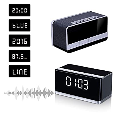 MUSKY Portable Bluetooth Speaker ,Wireless Speakers With Powerful Sound And Enhanced Bass,Build in Microphone for Handfree Phone Call, Alarm Clock, FM, LED Disply Fit For All Bluetooth Device