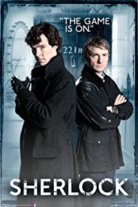 Sherlock Maxi Poster. 221B Baker Street. NEW. The Game Is On! Cumberbatch
