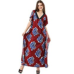 Dashing And Breezy All Over Maroon Floral Print Full Length Butterfly Kaftan_FLPLDABAOMFPFLBK001_Free