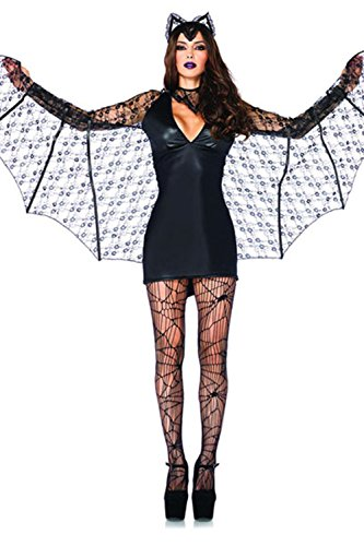Lover-baby® Dark Lace Wing Sleeves Ear Headband Bat Girl Costume Halloween
